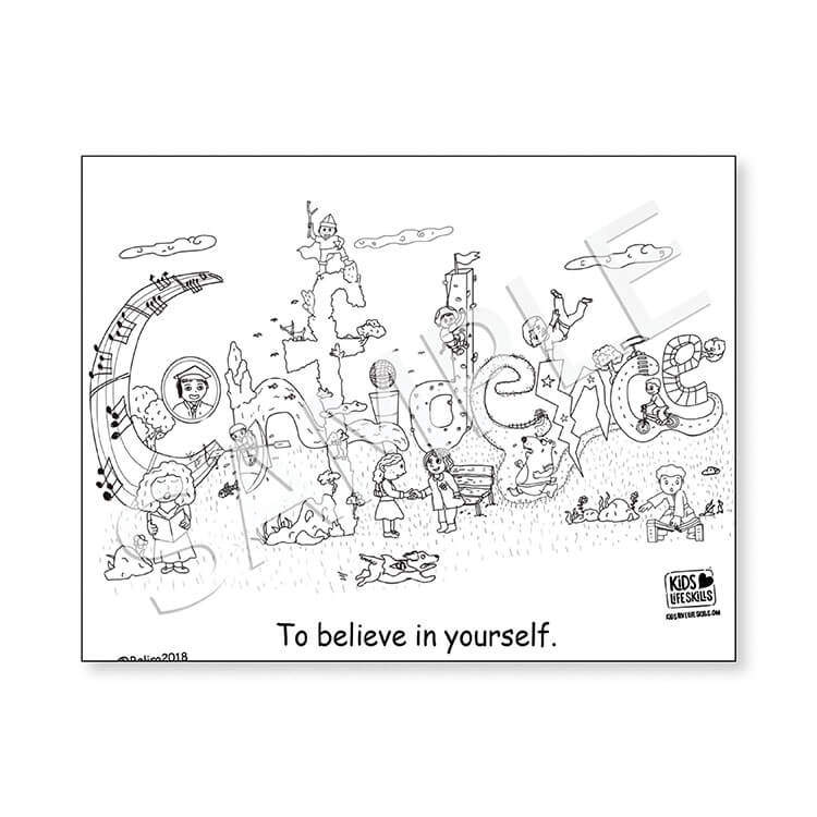 Confidence Life Skills Coloring Sheet – Kids Love Life Skills