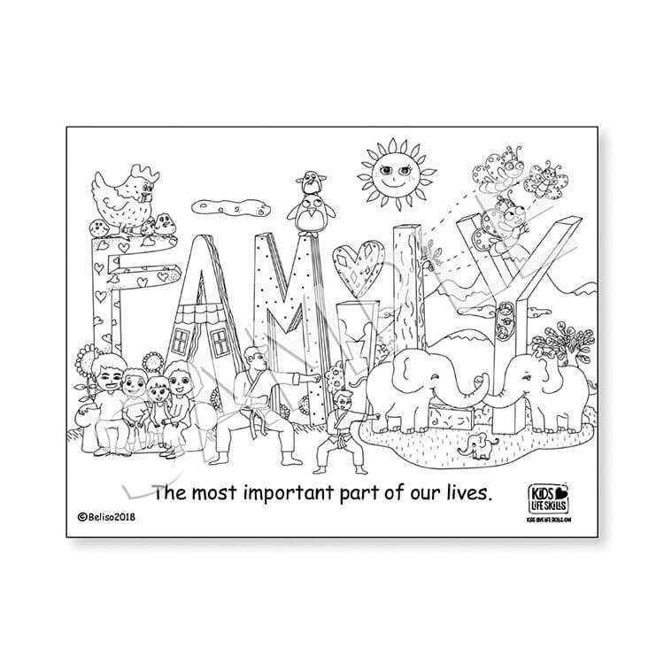 Family Life Skills Coloring Sheet – Kids Love Life Skills