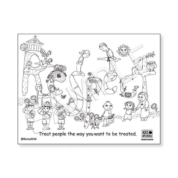 Respect Life Skills Coloring Sheet - Kids Love Life Skills