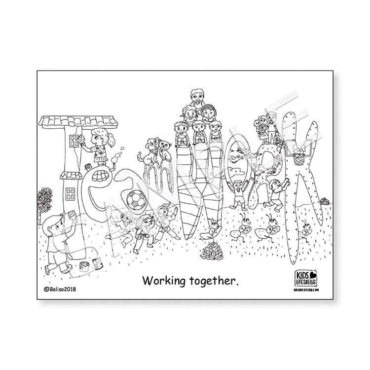 Teamwork Life Skills Coloring Sheet – Kids Love Life Skills